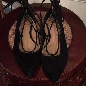 Vince Camuto flat black Suede Hercules shoe
